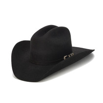 Stampede Hats - 100X Wool Felt Black Cowboy Hat with Silver Buckle - Front  Angle 13d6bb918