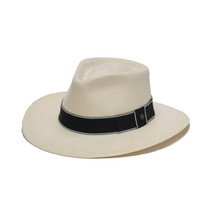 d0ec974ba69 Austral Hats - White Panama Hat with Flat Bow and Grey Band - Front Angle