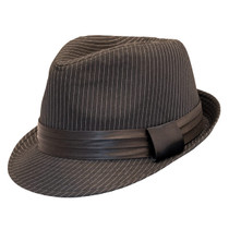3bcefdc384a85 Kenny K - Black on Black Pinstripe Fedora Hat