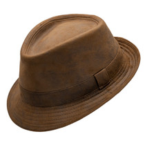 c0e7b4fc4486d Henschel - Faux Distressed Leather Fedora - Rust