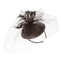 Something Special - Black Feather Fascinator Hat with Lace Veil f1894bfbb35