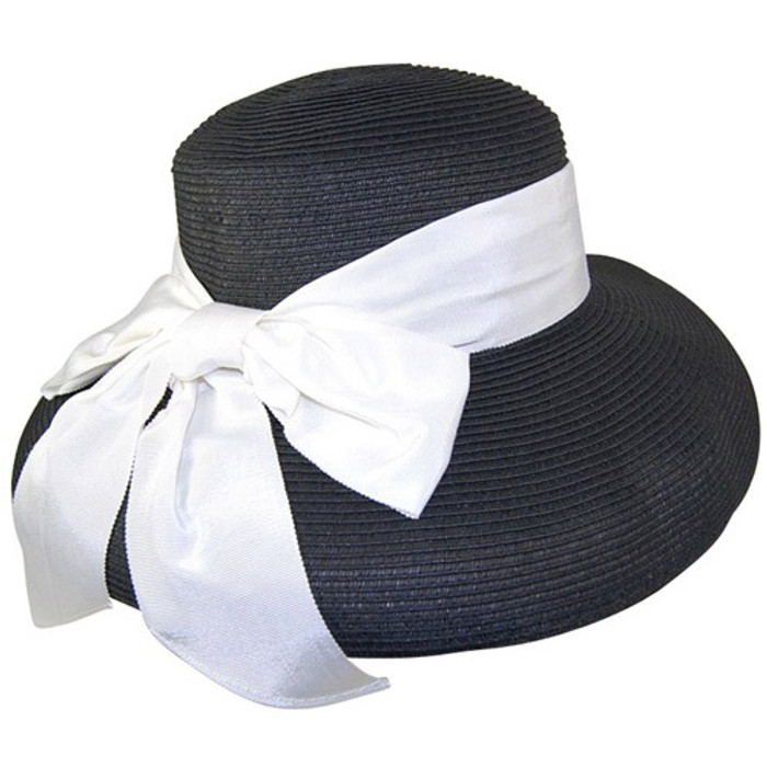 b3fc99259078d Dynamic Asia - Black White Straw Lampshade Sun Hat with Ribbon