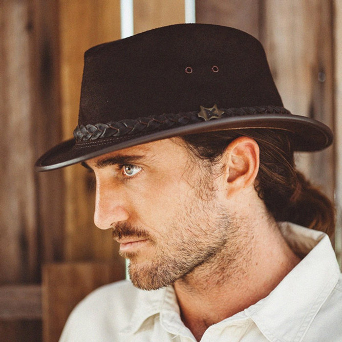 353855b43865a Conner Streetwise Leather Fedora - Stock Guy