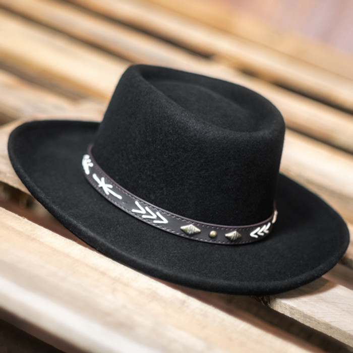 bf88efdb7a4cdc Conner - Wool Felt Arizona Gambler Hat - Stock Image 1