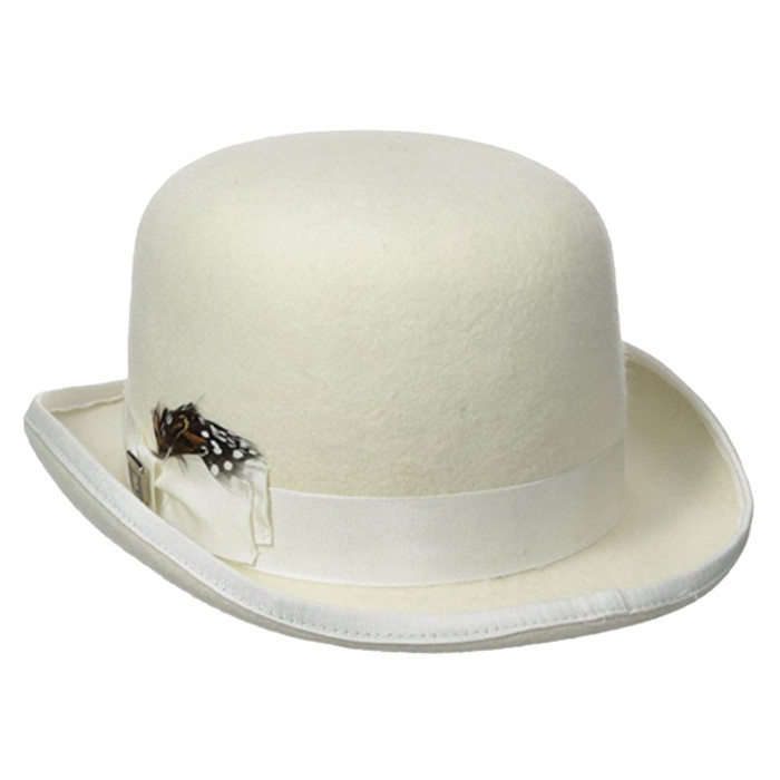 04d54dd59e8 Dorfman Pacific - Stacy Adams Classic Bowler Hat in Ivory - Full View
