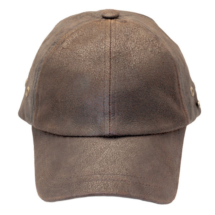 67949820 Stetson - Bray 6-Panel Distressed Leather Baseball Cap - Front