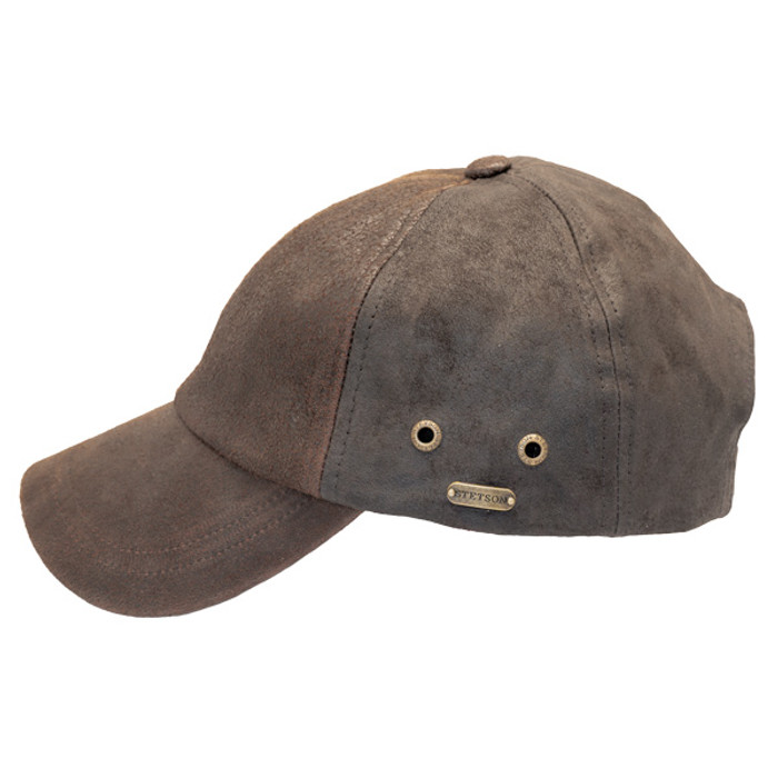 f92f2f84 Stetson - Bray 6-Panel Distressed Leather Baseball Cap - Side