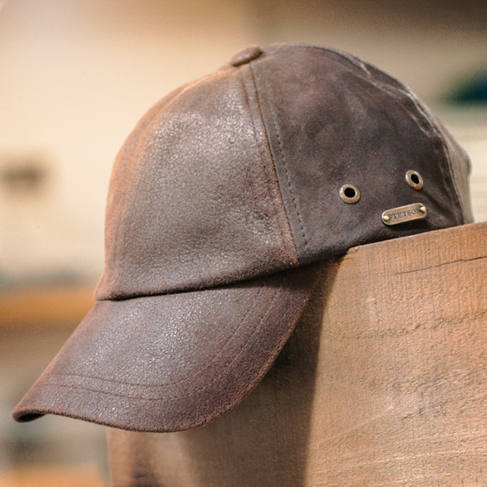 Stetson - Bray 6-Panel Distressed Leather Baseball Cap - Stock Image 9fa582cbeb9