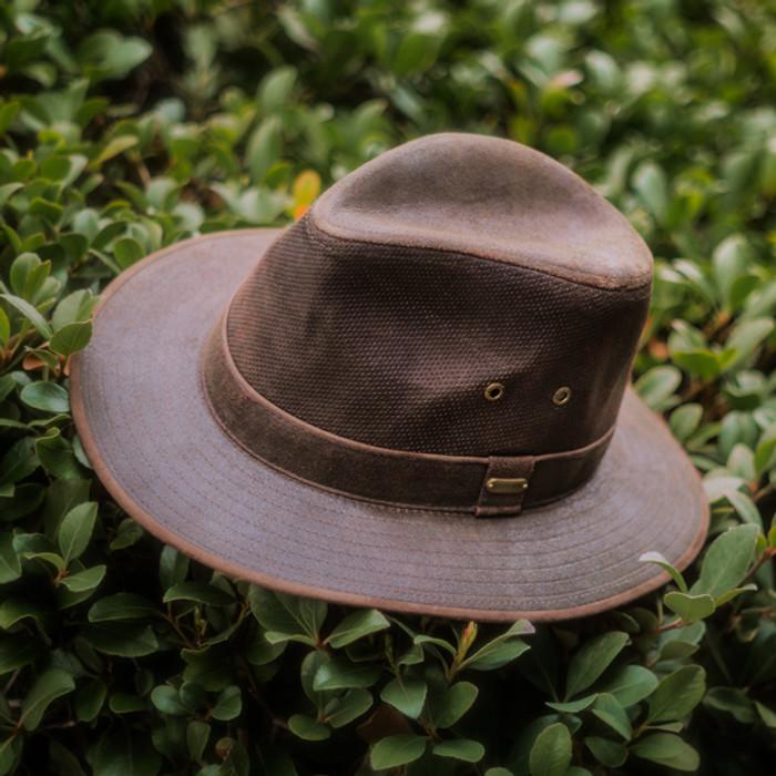 1d684d56ac8 Stetson - Tullamore Distressed Leather Safari Hat - Stock Image 2