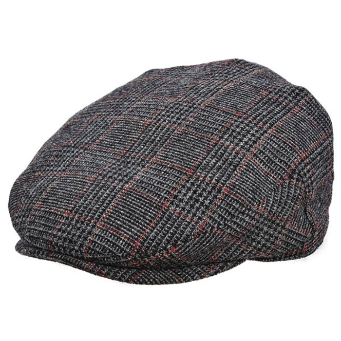 9673b281943b2 Stetson - Plaid Italian Wool Ivy Cap in Grey - Full View