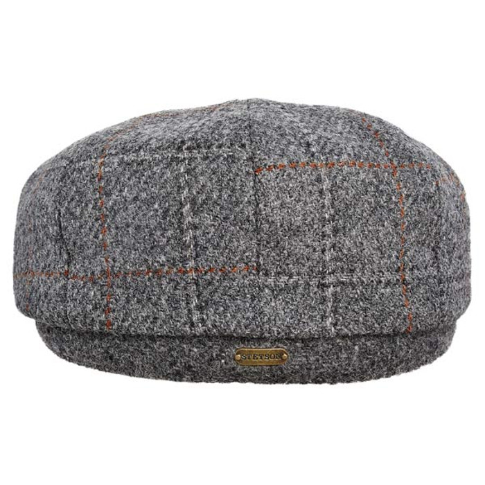165014d6 Stetson - Authentic Italian Wool Newsboy Cap in Grey - Back View