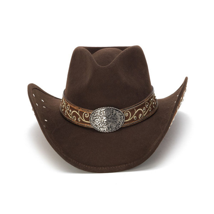 eae6be044bd Previous. Stampede Hats - Filigree Brown Rhinestone Felt Cowboy Hat - Front