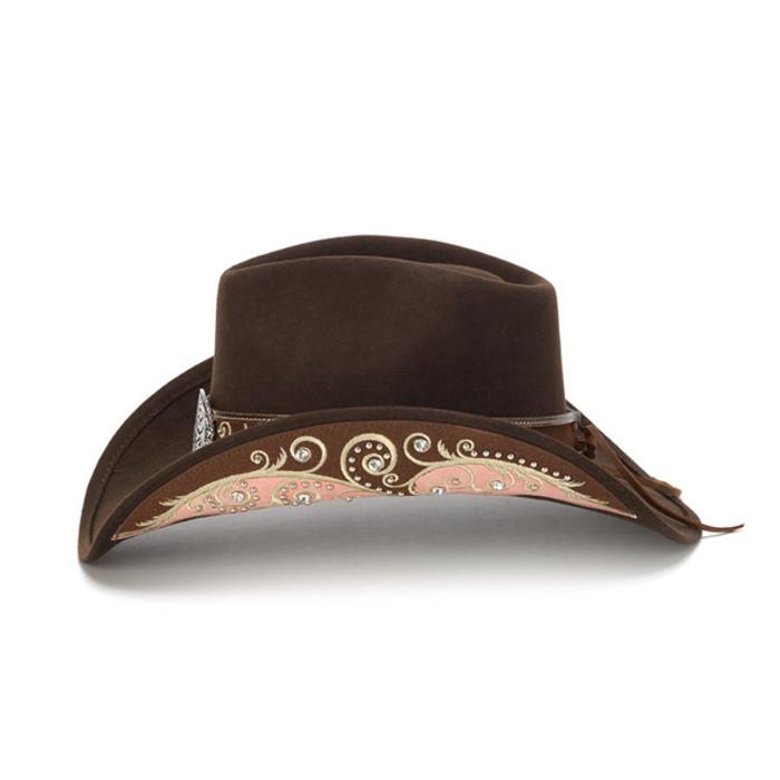 fdc13b7e3b1 Stampede Hats - Filigree Brown Rhinestone Felt Cowboy Hat - Side