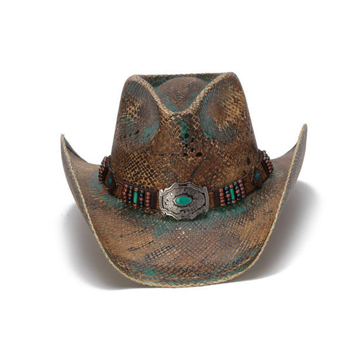 Stampede Hats - Blue Stained Straw Cowboy Hat with Beadwork and Turquoise -  Front bfa0fe8b96c3