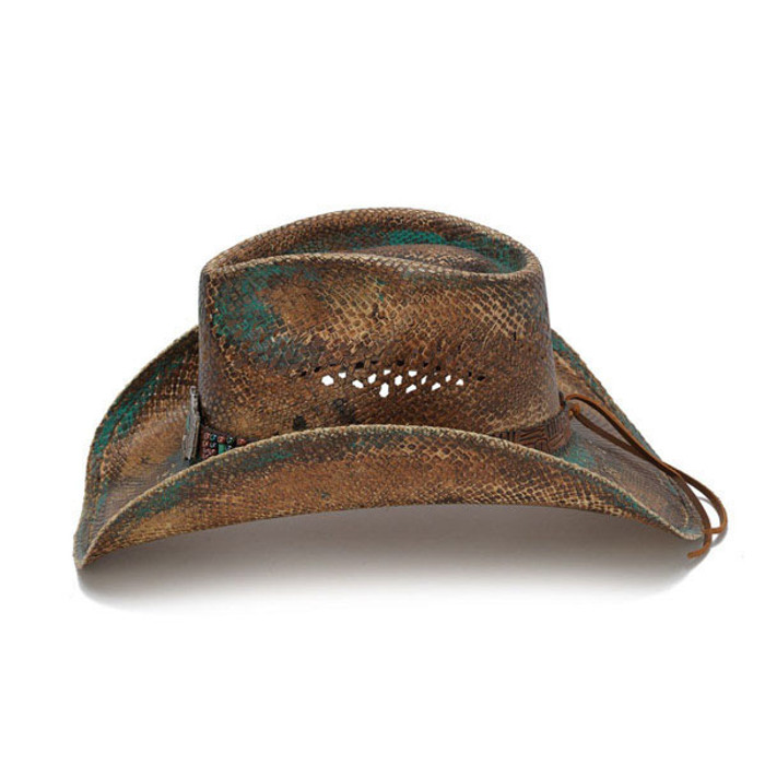 Stampede Hats - Blue Stained Straw Cowboy Hat with Beadwork and Turquoise -  Side 6eb076b50dc1