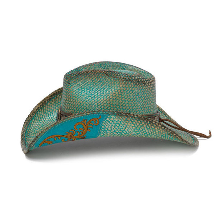 c560c1c8b67 Stampede Hats - Turquoise Aqua Western Hat with Flower Trim - Side