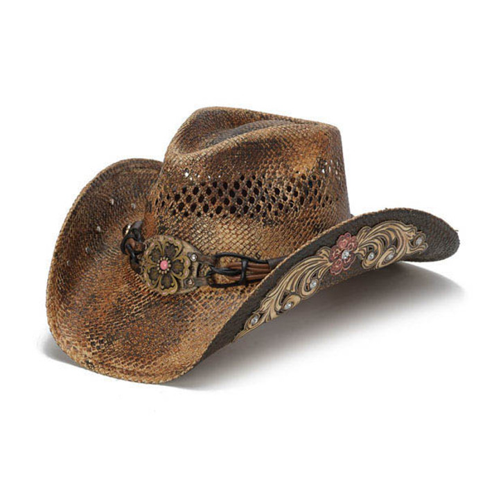 dd899b4cad194 Stampede Hats - Flowers and Rhinestone Brown Cowboy Hat - Front Angle
