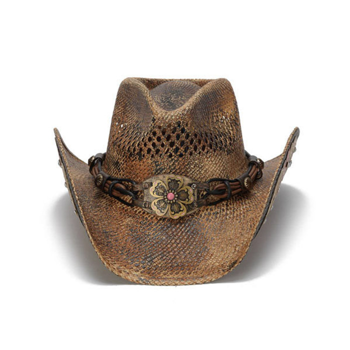 80d63b9bf82 Previous. Stampede Hats - Flowers and Rhinestone Brown Cowboy Hat - Front