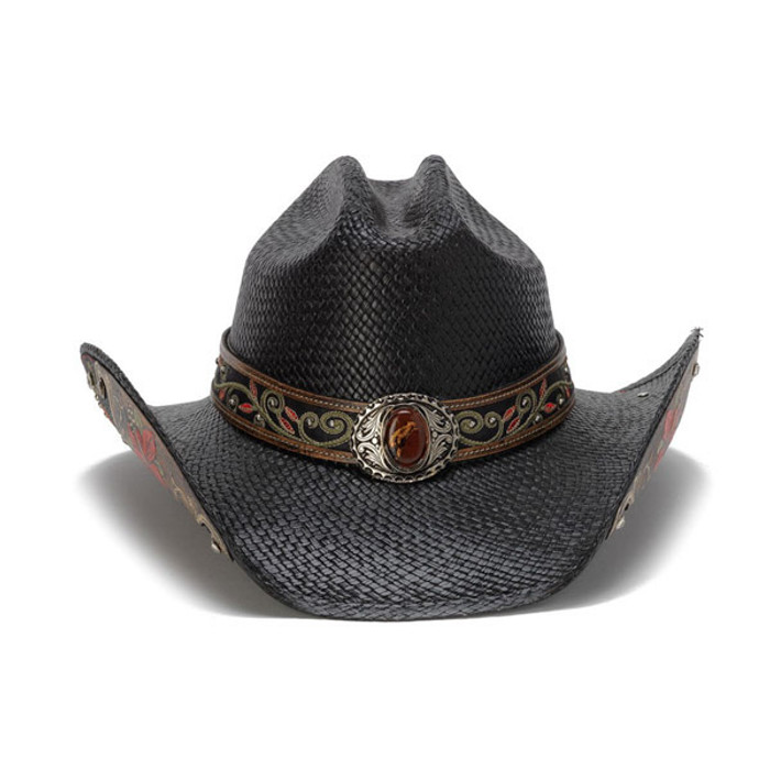 Stampede Hats - Black Cowboy Hat with Red Hibiscus Flower and Rhinestones -  Front 00eee65ceba0