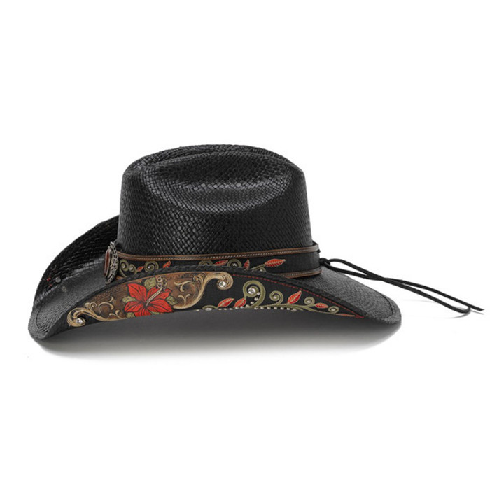 Stampede Hats - Black Cowboy Hat with Red Hibiscus Flower and Rhinestones -  Side 9799d34713c7