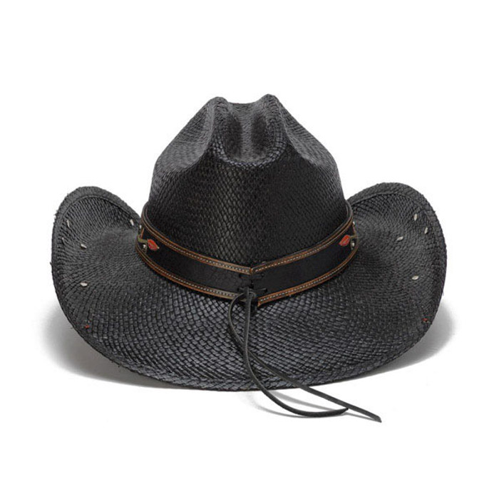 3327a6060 Stampede Hats - Black Cowboy Hat with Red Hibiscus Flower and Rhinestones