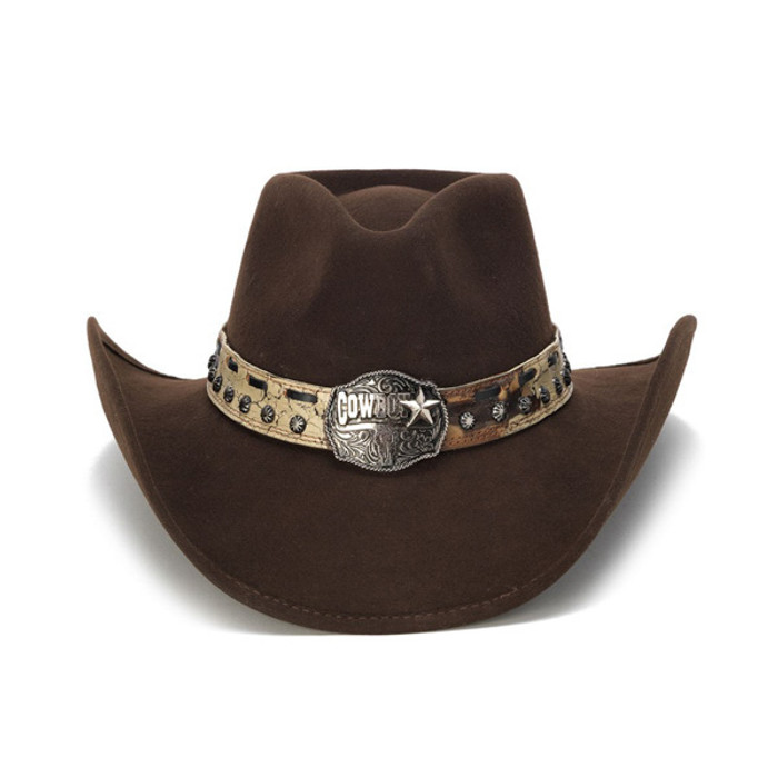 35193a90325 Stampede Hats - Brown Cowboy Concho Western Felt Hat - Front