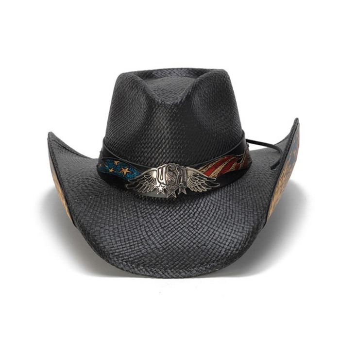 3be84b5977334 Stampede Hats - Black Vintage Eagle USA Cowboy Hat - Front