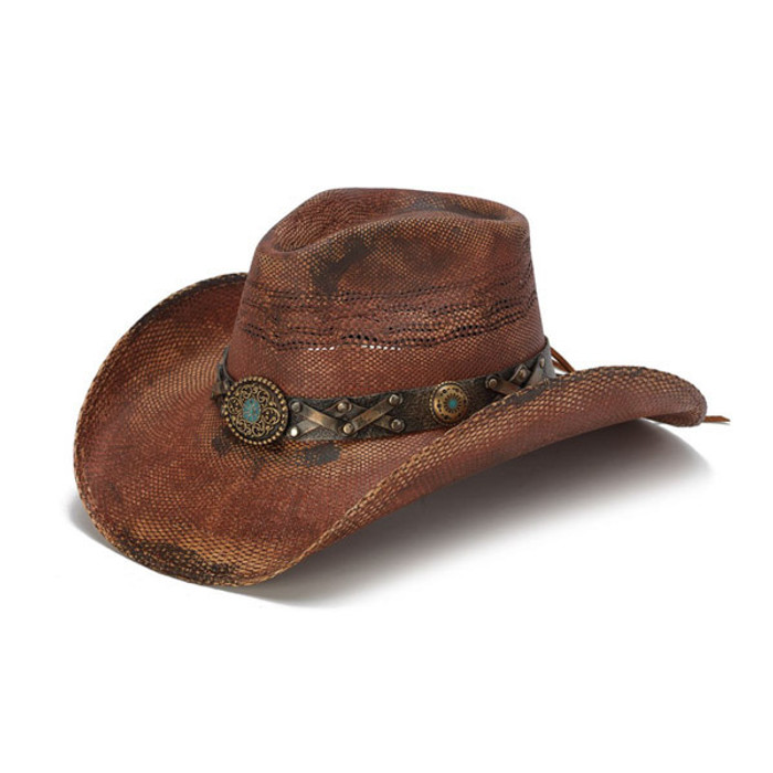 Stampede Hats - Rustic Burgundy Cowboy Hat with Turquoise Stone - Front  Angle 084c9174063