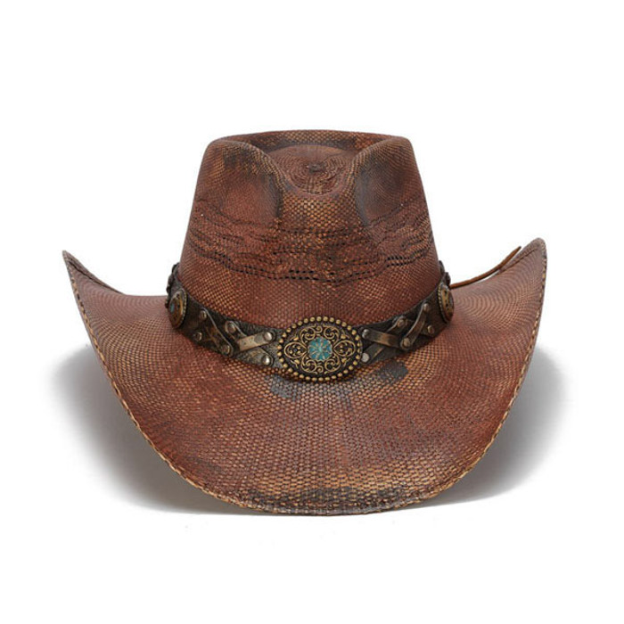 cf4a8829b9e197 Stampede Hats - Rustic Burgundy Cowboy Hat with Turquoise Stone - Front