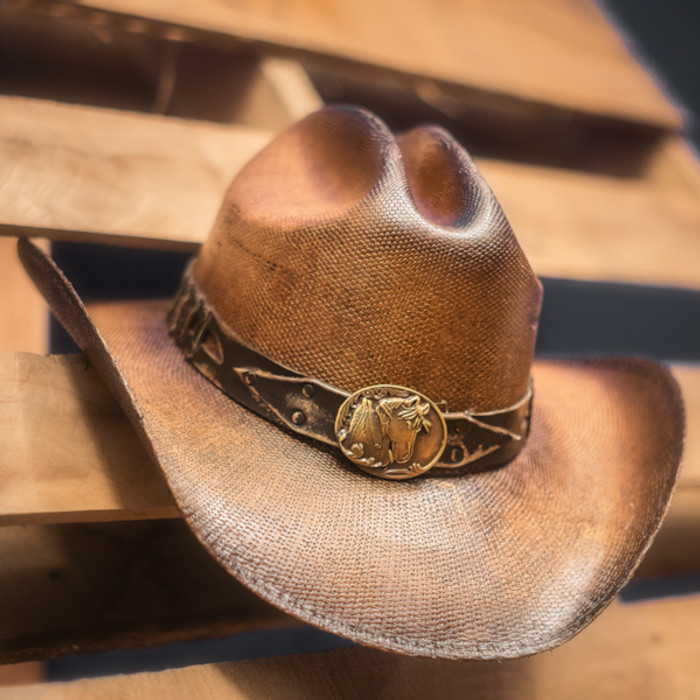 1349aa6557280 Stampede Hats - Studded Brown Stallion Cowboy Hat - Stock Image 1