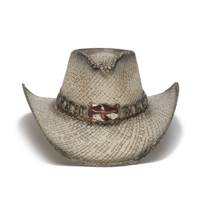 Stampede Hats - White and Copper Longhorn Cowboy Hat - Front a14f876c721