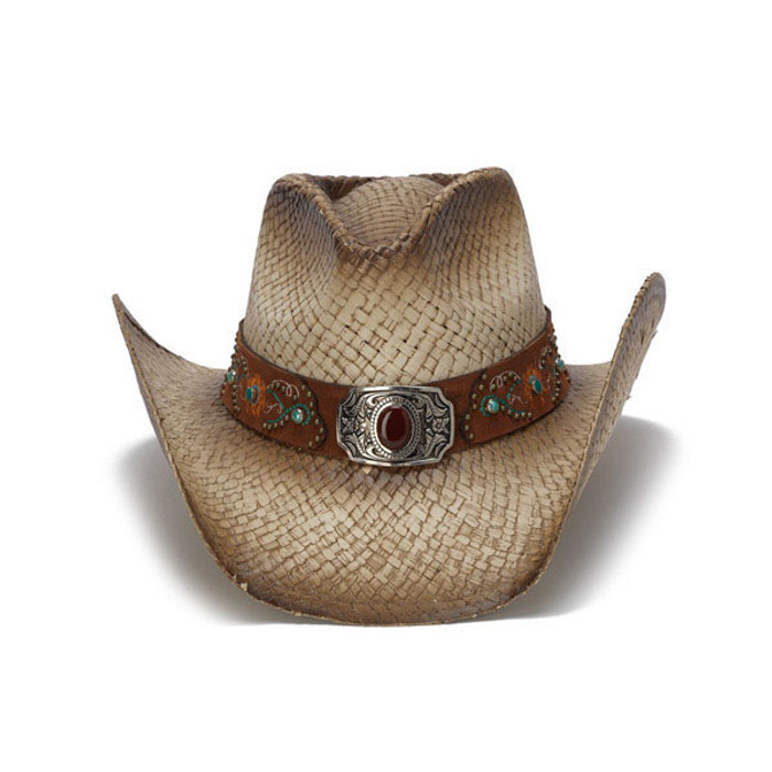 2bb32e2ef69771 Stampede Hats - Brownstone and Turquoise Embroidered Cowboy Hat - Front