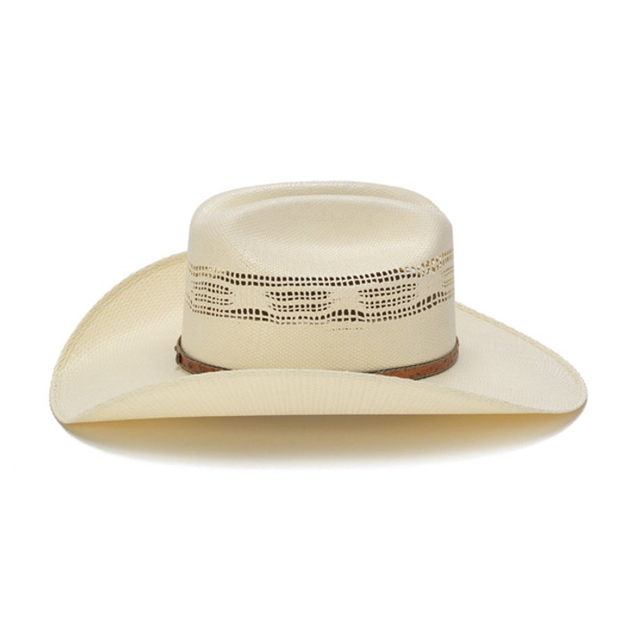 b2ce858e3d7 Stampede Hats - 50X Bangora Straw Western Hat with Studded Leather Trim -  Side