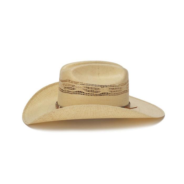 e3459ac321b Beige 50X Bangora Cowboy Hat with Studded Wrapped Leather Trim - Side