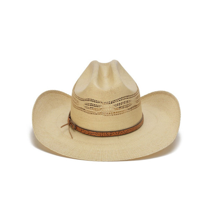 e812eeaba5a Beige 50X Bangora Cowboy Hat with Studded Wrapped Leather Trim - Back