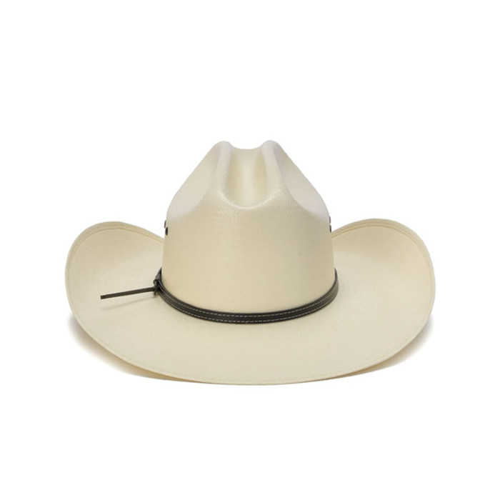 a97b75cbebd 50X Shantung White Cowboy Hat with Leather Trim and Mini Conchos - Back