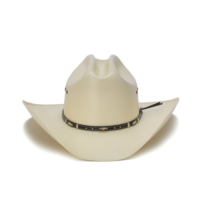 813767b2bc3ab 50X Shantung White Cowboy Hat with Leather Trim and Mini Conchos - Front