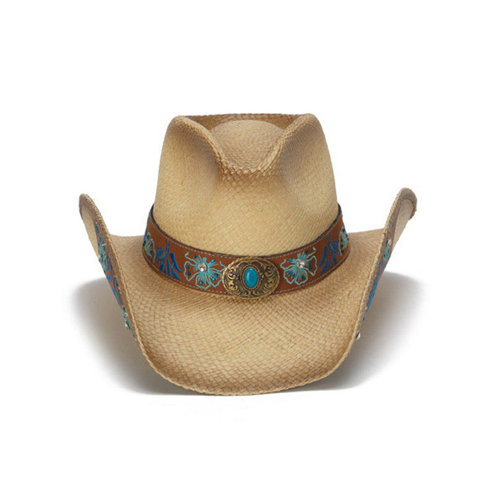 4dab089206c Stampede Hats - Blue Floral Leather Panama Western Hat - Front