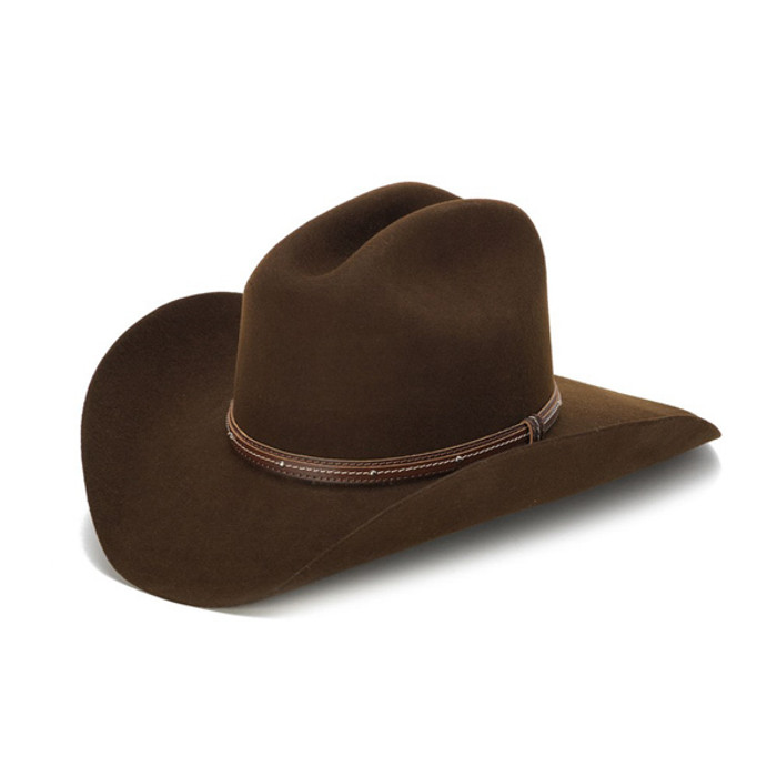 100X Wool Felt Brown Cowboy Hat with Studded Leather Trim - Front Angle fa3d6835dc1
