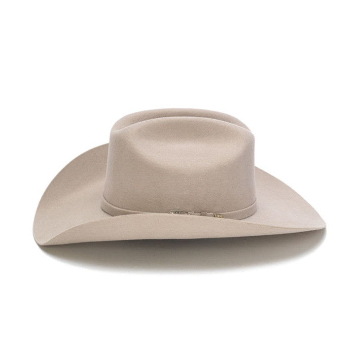 Stampede Hats - 100X Wool Felt Beige Cowboy Hat with Silver Buckle - Side 355bb69b8b0