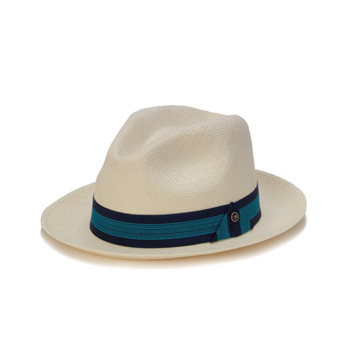 d8801a7a Austral Hats | White Panama Hat with Dark and Light Blue Band | Hats ...