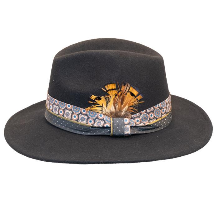 479f31f58ec Jeanne Simmons - Wool Felt Fashion Fedora w  Feather - Black - Side