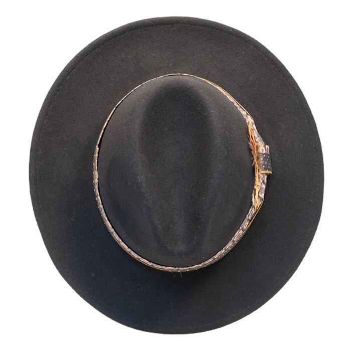 19b43c435b4de Jeanne Simmons - Wool Felt Fashion Fedora w  Feather - Black - Top