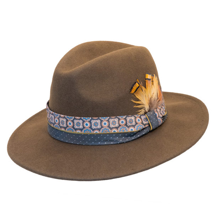 4f5546abc9d9d Jeanne Simmons - Wool Felt Fashion Fedora w  Feather - Brown