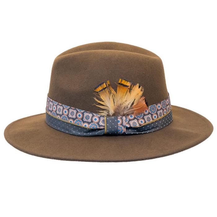 011ffde831f40 Jeanne Simmons - Wool Felt Fashion Fedora w  Feather - Brown - Side