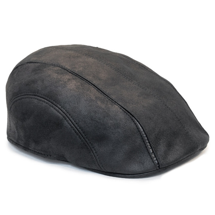 Henschel - Faux Leather 6 Panel Driver Cap in Black - Opposite 46ed9266bb51