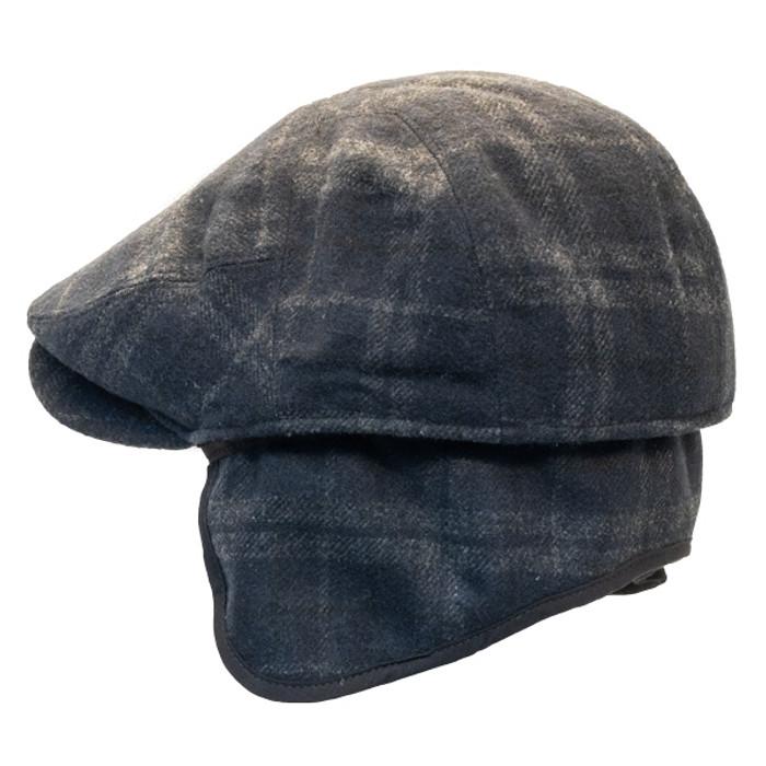 93dc0428 Henschel - Wool Blend Flat Cap with Ear Flaps in Black - Back/Unfolded