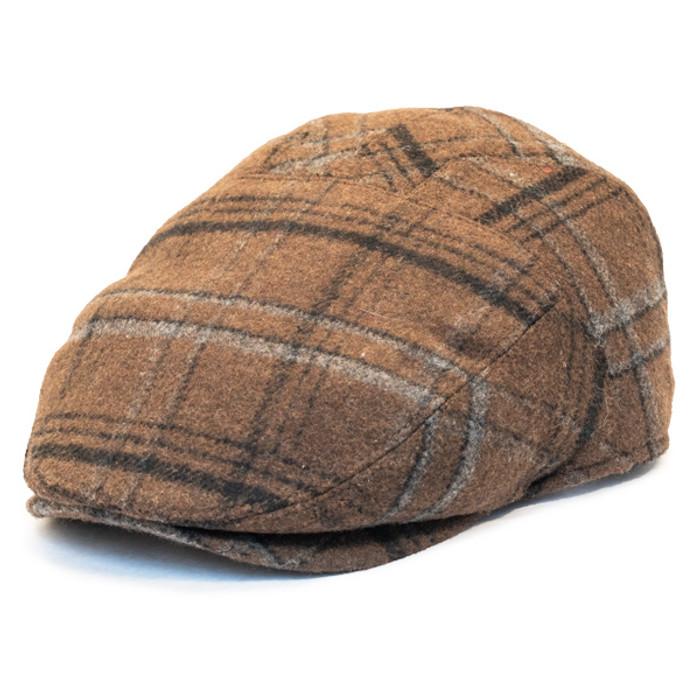 12f4aaf3 Henschel - Wool Blend Flat Cap with Ear Flaps in Brown - Full