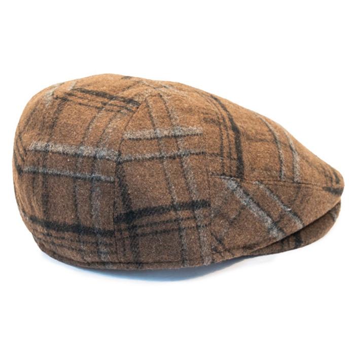 Henschel - Wool Blend Flat Cap with Ear Flaps in Brown - Back a99b448340fd