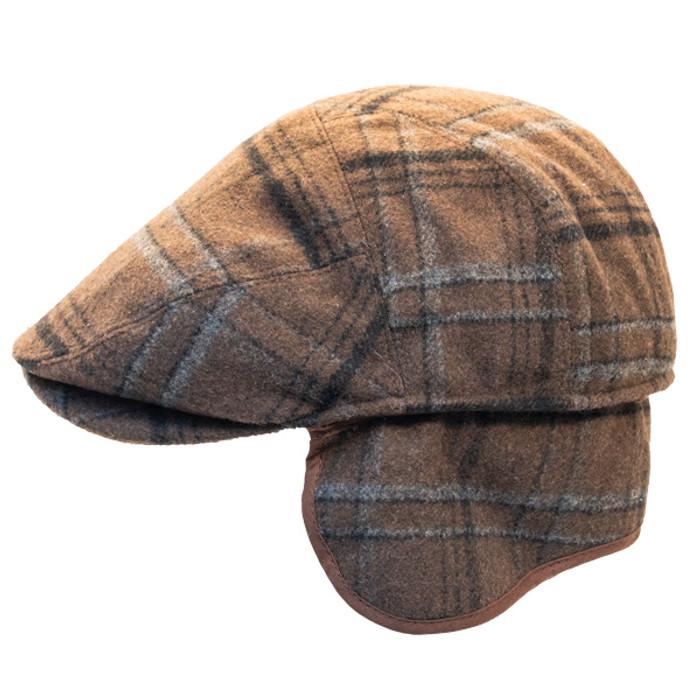 deaf13cec91 Henschel - Wool Blend Flat Cap with Ear Flaps in Brown - Side Unfolded